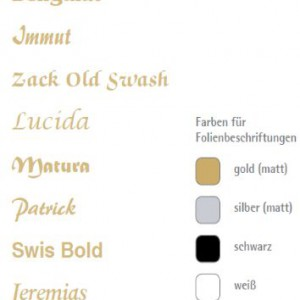 Folienbeschriftungen Schriftarten